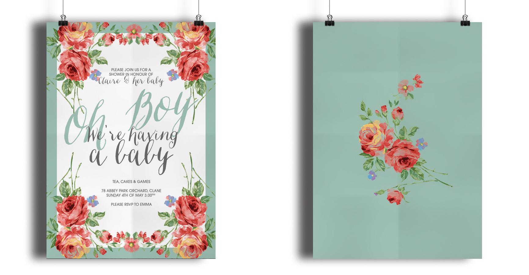 floral tea pary design invitations